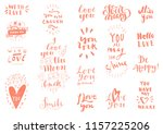 set of love vintage hand drawn... | Shutterstock .eps vector #1157225206