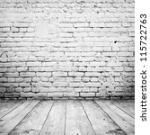 Stock photo room interior vintage with white brick wall and wood floor background 115722763