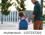 first day at school. father... | Shutterstock . vector #1157237203