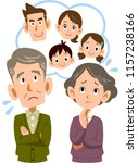 an old couple uneasy about... | Shutterstock .eps vector #1157238166