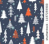 seamless pattern with fir trees ... | Shutterstock .eps vector #1157255503