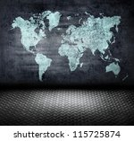metal grunge wold map room | Shutterstock . vector #115725874