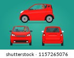 red  ompact city car set. car... | Shutterstock .eps vector #1157265076