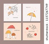 set of autumnal greeting cards | Shutterstock .eps vector #1157267749