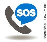 handset with sos talk balloon... | Shutterstock .eps vector #1157274109