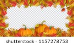 autumn leaves and pumpkins... | Shutterstock .eps vector #1157278753