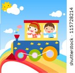 boy and girl on train | Shutterstock .eps vector #115728214