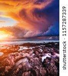 epic sunset with dark overcast... | Shutterstock . vector #1157287339