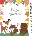 cute animal autumn card vector... | Shutterstock .eps vector #1157290750