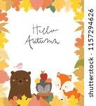 cute animal autumn card vector... | Shutterstock .eps vector #1157294626