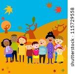 group of happy kids autumn | Shutterstock .eps vector #115729558