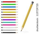 set of coloured pencils.... | Shutterstock .eps vector #115729720