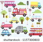 cute transportation set | Shutterstock .eps vector #1157300803