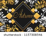 background with printed leaves. ... | Shutterstock .eps vector #1157308546