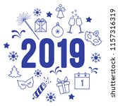new year symbols. gifts ... | Shutterstock .eps vector #1157316319