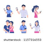 different people holding... | Shutterstock .eps vector #1157316553