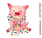 watercolor pig. 2019 chinese... | Shutterstock . vector #1157327503