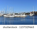 sailboats are moored in the... | Shutterstock . vector #1157329663