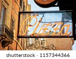 vintage pizzeria sign in rome... | Shutterstock . vector #1157344366
