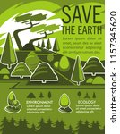 save earth and nature... | Shutterstock .eps vector #1157345620