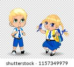 cute little school girl and boy ... | Shutterstock .eps vector #1157349979