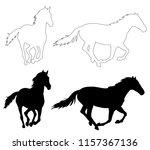 black silhouette of running... | Shutterstock .eps vector #1157367136