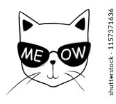 vector cute fashion cat in... | Shutterstock .eps vector #1157371636