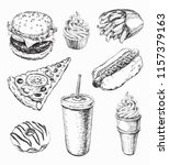 hand drawn set fast food vector ... | Shutterstock .eps vector #1157379163