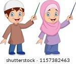 cartoon muslim kid presenting | Shutterstock .eps vector #1157382463