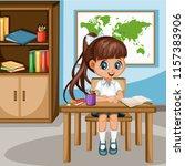 cute cartoon girl sitting at... | Shutterstock .eps vector #1157383906