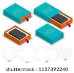 rigid sleeve box die cut mock...   Shutterstock .eps vector #1157392240