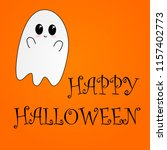 flying ghost wishes a happy... | Shutterstock .eps vector #1157402773
