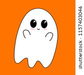 flying ghost wishes a happy... | Shutterstock .eps vector #1157403046