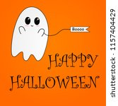 flying ghost wishes a happy... | Shutterstock .eps vector #1157404429