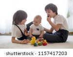 three cute boys  siblings ... | Shutterstock . vector #1157417203