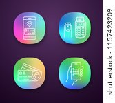 nfc payment app icons set. pay...