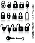 set of lock and key icons. all... | Shutterstock .eps vector #115742383