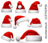 set of red santa claus hats... | Shutterstock . vector #115742950