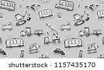 funny cars seamless pattern.... | Shutterstock . vector #1157435170