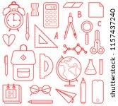 school supplies line art vector ... | Shutterstock .eps vector #1157437240