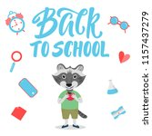 cute raccoon character for back ... | Shutterstock .eps vector #1157437279