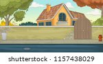 colorful house in suburb... | Shutterstock .eps vector #1157438029