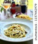 tagliatelle carbonara  pasta | Shutterstock . vector #1157442979