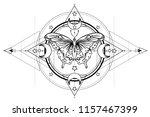 black and white butterfly over... | Shutterstock .eps vector #1157467399