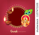 happy ganesh chaturthi design ... | Shutterstock .eps vector #1157472103