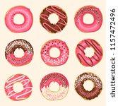 set of vector sweet pink glazed ... | Shutterstock .eps vector #1157472496