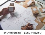 designer sketching drawing... | Shutterstock . vector #1157490250