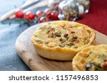 leek quiche and smoked salmon | Shutterstock . vector #1157496853