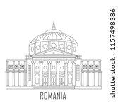 facade of romanian athenaeum.... | Shutterstock .eps vector #1157498386