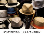 summer   straw hats for men on... | Shutterstock . vector #1157505889